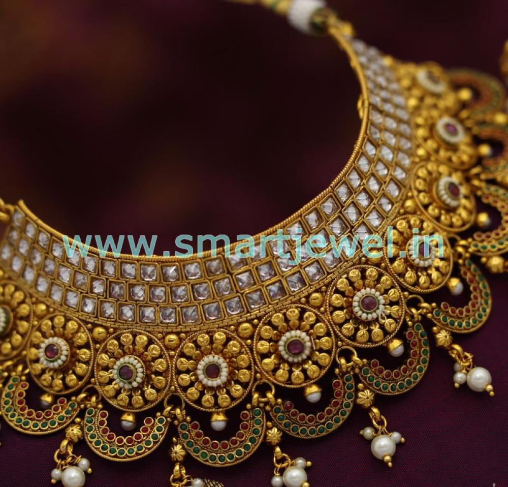 SCH0974 Broad Choker Necklace Antique AD Stones Grand Wedding ...