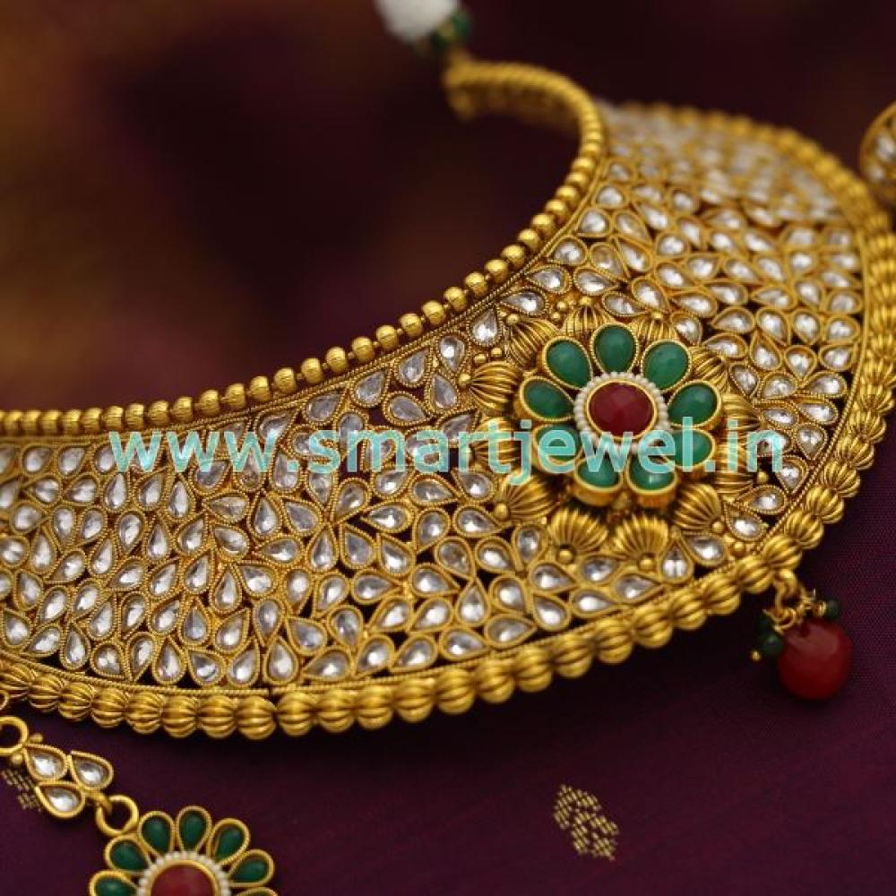 101cffafb6fd63 SCH2053 Broad Choker Necklace Antique AD Stones Grand Wedding Bridal ...