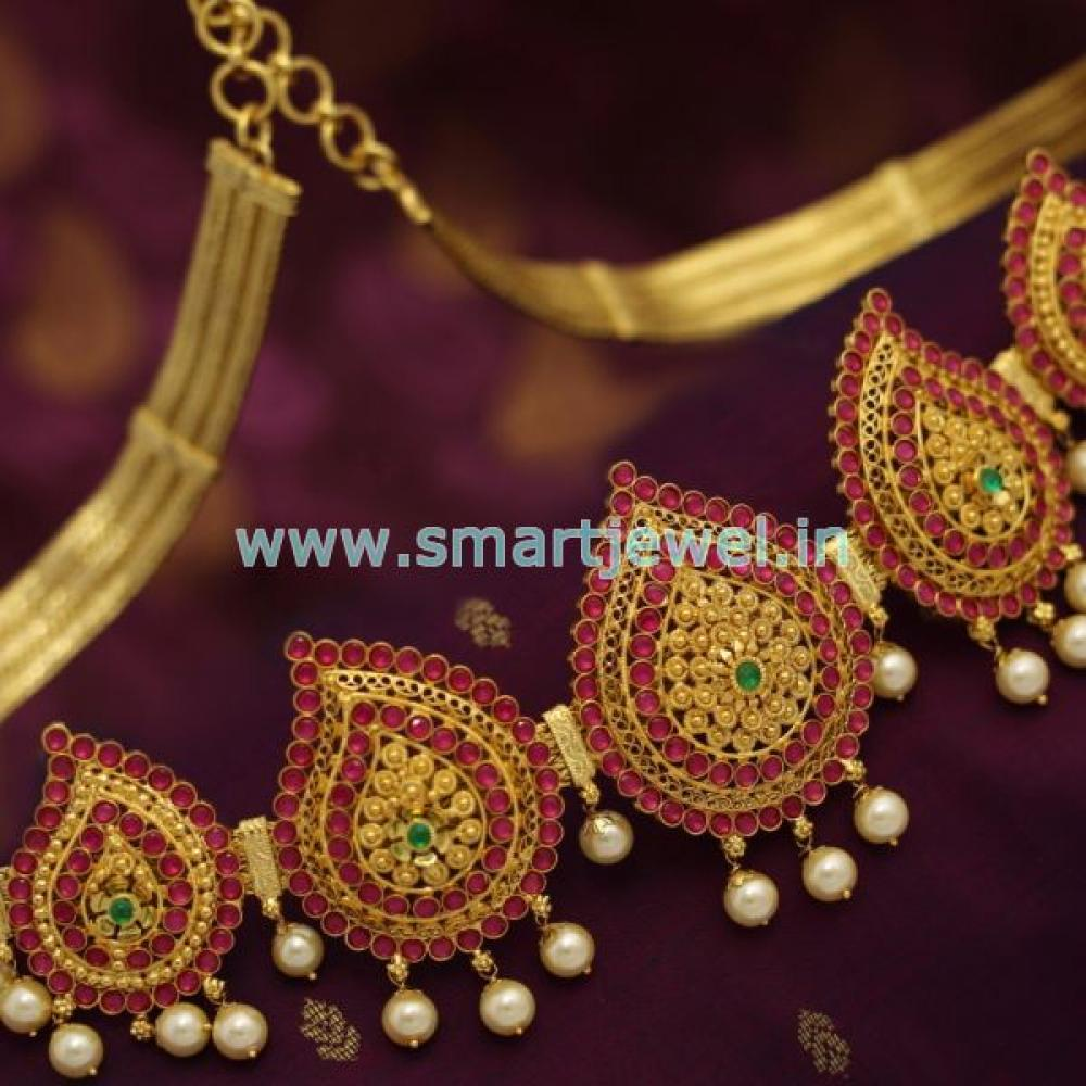 Sh6905 One Gram Gold Jewellery Mango South Indian