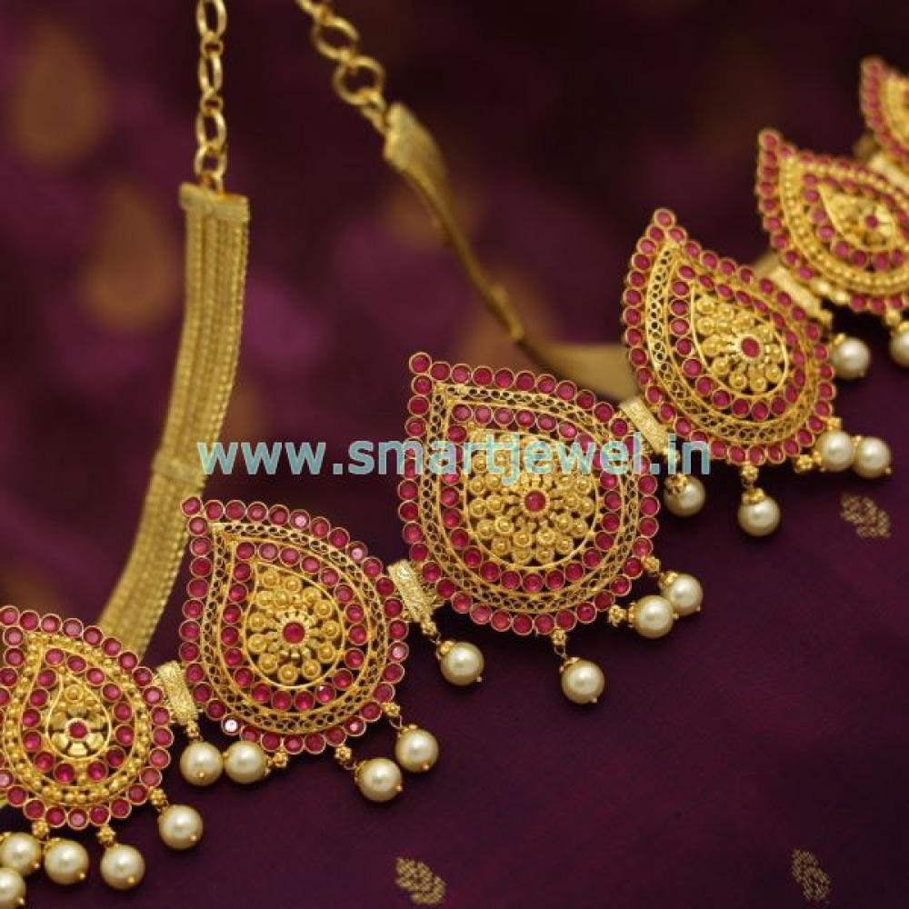 Sh6906 One Gram Gold Jewellery Mango South Indian