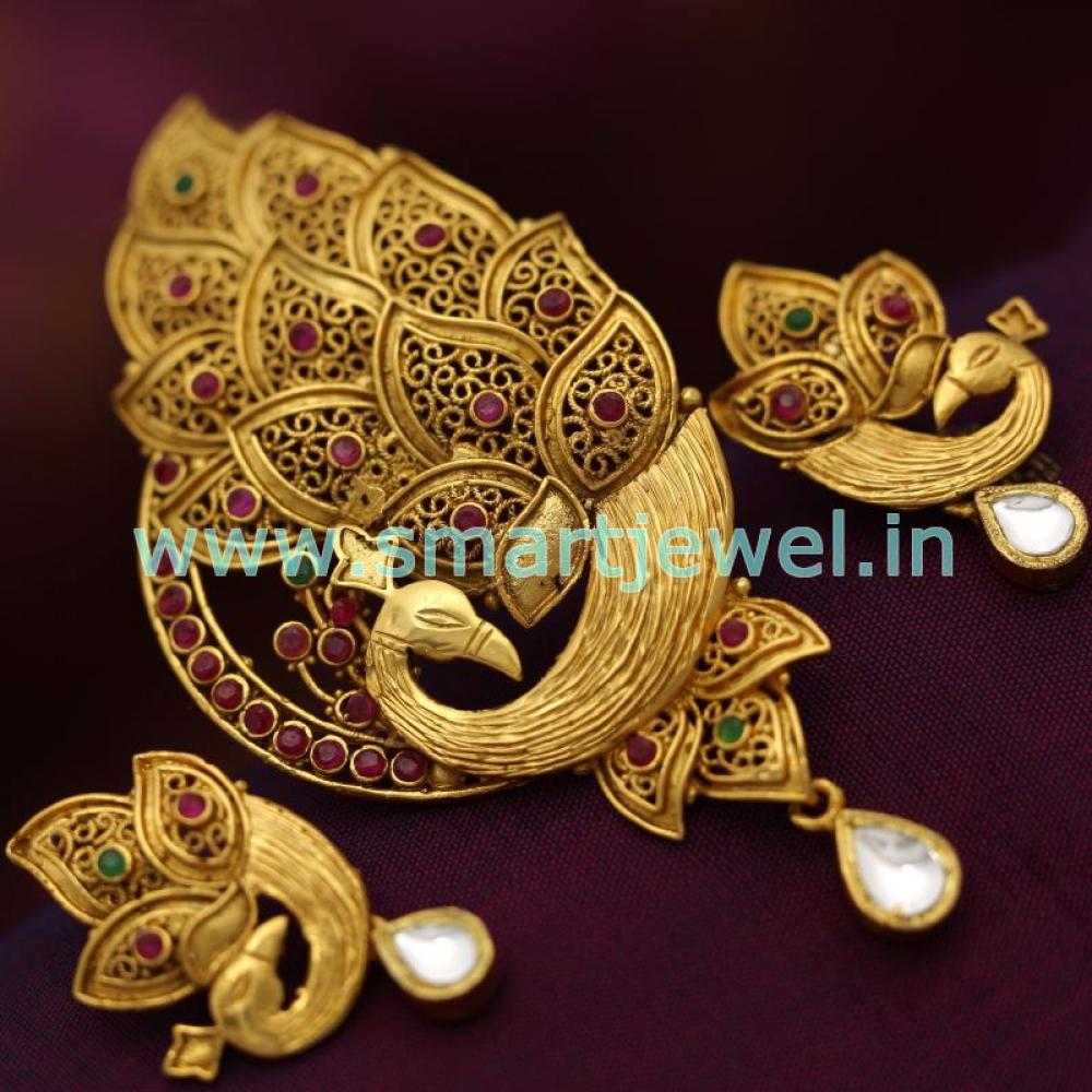 sps6741 real look ruby emerald jadau kundan peacock design