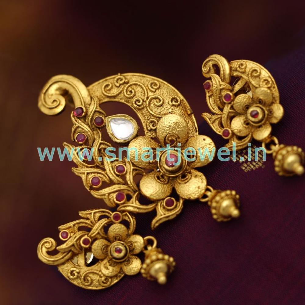 Sps6812 real look ruby emerald jadau kundan gold design pendant antique gold plated ruby emerald jadau kundan gold loading zoom aloadofball Choice Image