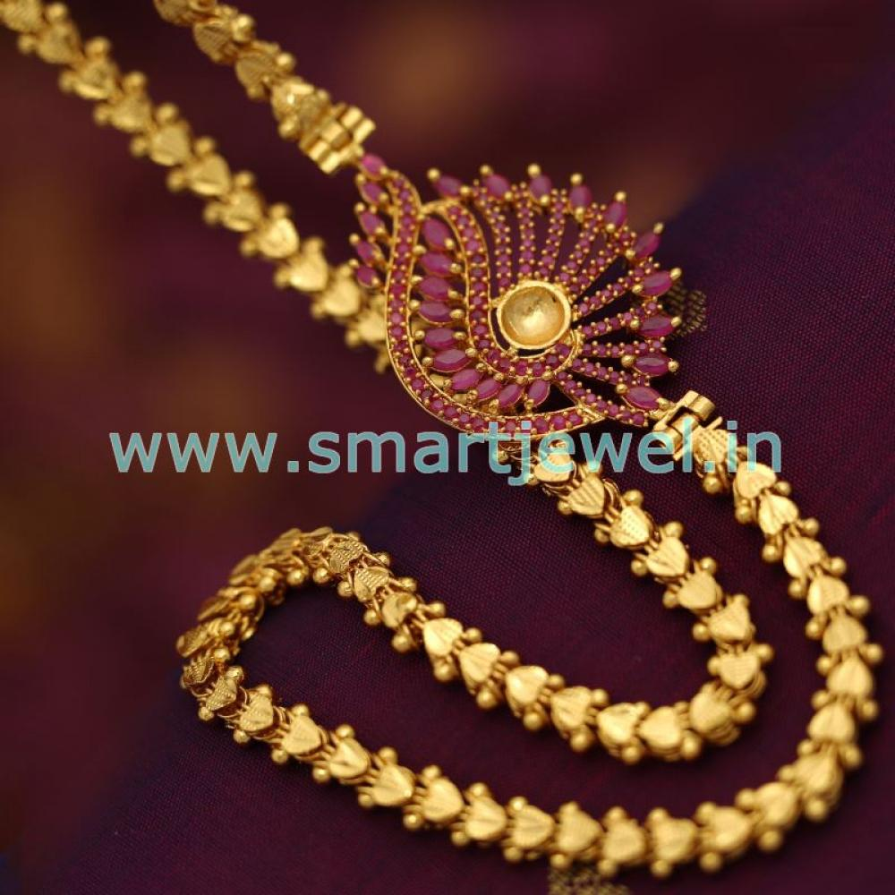 Sc6802 latest one gram 24 inches kerala chain ruby mugappu side one gram gold plated chain 24 inches ruby loading zoom mozeypictures Image collections