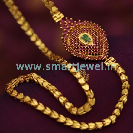 Sc6799 Latest One Gram 24 Inches Chain Ruby Emerald